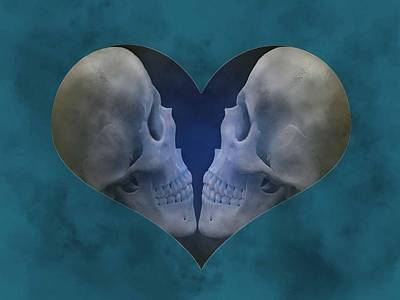 Digital Art - Blue Skull Love by Diana Shively