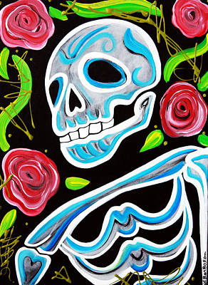 Skulls Painting - Blue Skull N Roses by Laura Barbosa