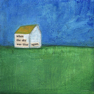 Folk Art Mixed Media - Blue Sky Again by Linda Woods