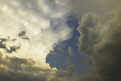Photograph - Blue Sky And Building Dramatic Storm Clouds Maine by Keith Webber Jr
