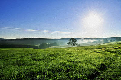 Blue Sky And Fields Art Print by Aged Pixel