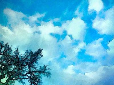 Digital Art - Blue Sky And Puffy Clouds - Horizontal by Lyn Voytershark