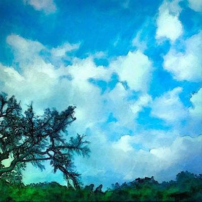 Digital Art - Blue Sky And Puffy Clouds - Square by Lyn Voytershark
