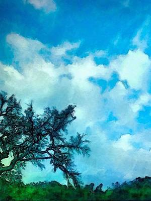 Painting - Blue Sky And Puffy Clouds - Vertical by Lyn Voytershark
