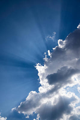 Blue Sky And Sunbeams Art Print by Georgia Mizuleva