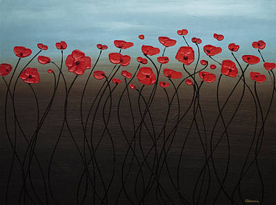 Poppies Painting - Blue Sky by Carmen Guedez