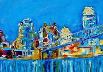 Roebling Bridge Painting - Blue Sky Cincinnati by Kat Griffin