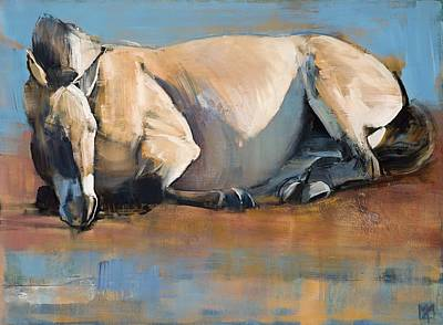 Wild Horse Painting - Blue Sky Day by Mark Adlington