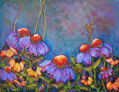 Impressionism Paintings - Blue Sky Flowers by Blenda Studio