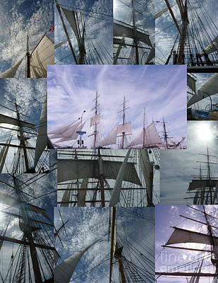 Photograph - Blue Sky Full Sails Collage by Susan Garren