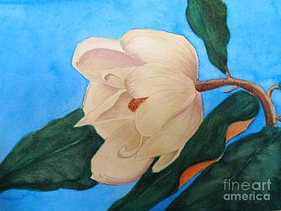 Art Print featuring the painting Blue Sky Magnolia by Nancy Kane Chapman