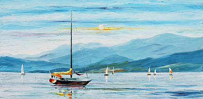 Blue Sky - Palette Knife Oil Painting On Canvas By Leonid Afremov Original