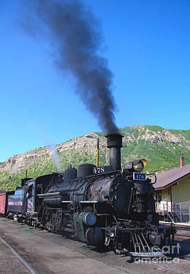 Photograph - Blue Sky Vintage Train Locomotive Steam Engine Ride To Silverton by Jerry Cowart