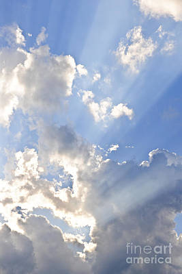 Blue Sky With Sun Rays Art Print