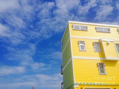 Blue Sky Yellow House Art Print
