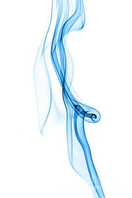 Blue Smoke Abstract On Perfect White Art Print