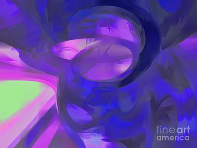 Blue Smoke Pastel Abstract Art Print