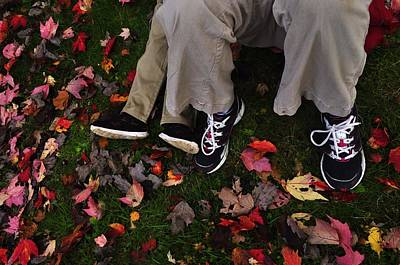 Photograph - Blue Sneakers And Fall Leaves by Mary Frances