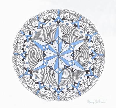 Blue Doodle Drawing - Blue Snow Flake Mandala by Nancy TeWinkel Lauren