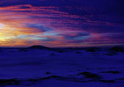 Blue Snow Sunset Art Print by Kathi Mirto