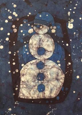 Snowman Mixed Media - Blue Snowman 1 by Kevin Houchin