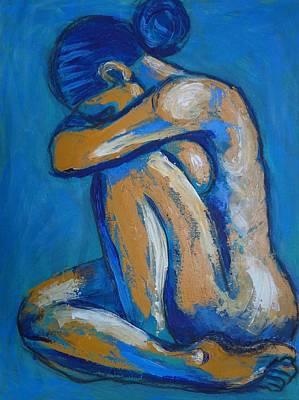 Head On Knees Painting - Blue Soul 2 - Female Nude by Carmen Tyrrell