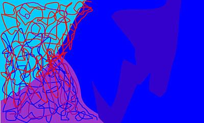 Abstract Mixed Media - Blue Spice by   Eyauuk