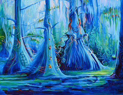 Blue Spirit Trees Art Print