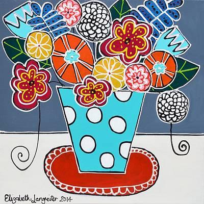 Painting - Blue Spotty Vase by Elizabeth Langreiter