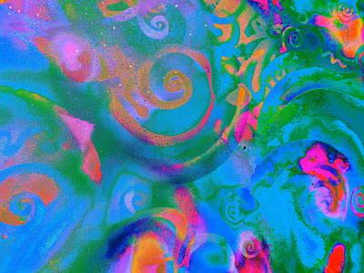 Digital Art - Blue Sprirals by Expressionistart studio Priscilla Batzell