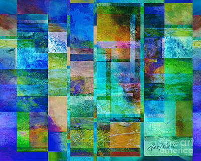Blue Squares Abstract Art Art Print by Ann Powell
