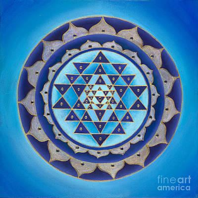 Sri Yantra Painting - Blue Sri Yantra by Charlotte Backman