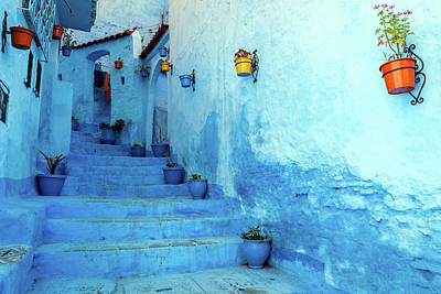 Photograph - Blue Staircase & Colourful Flowerpots by Pavliha