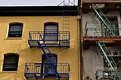 Art Print featuring the photograph Blue Stairs Green Stairs  by Sherry Davis