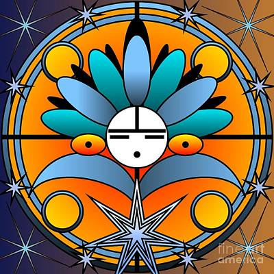 Digital Art - Blue Star Kachina 2012 by Kathryn Strick
