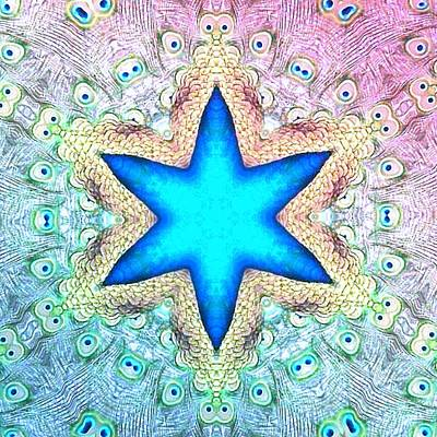 Digital Art - Blue Star by T T