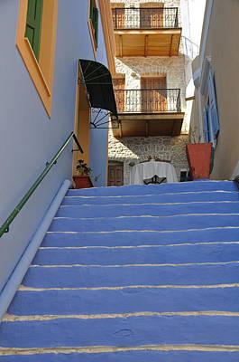 Symi Photograph - Blue Steps by David ELLIOTT