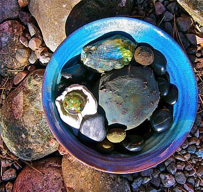 Labradorite Painting - Blue Stone Bowl by Theano Lamb