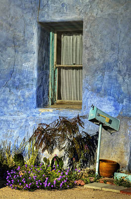 Photograph - Blue Stucco Window by Ken Smith