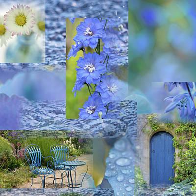 Blue Summer Collage Art Print