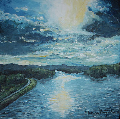 Refection Painting - Blue Sunset by Monica Veraguth