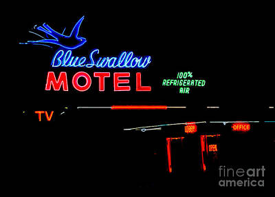 Blue Swallow Motel Neon Sign Art Print by Catherine Sherman