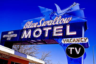 Photograph - Blue Swallow Motel Sign by Ben Graham