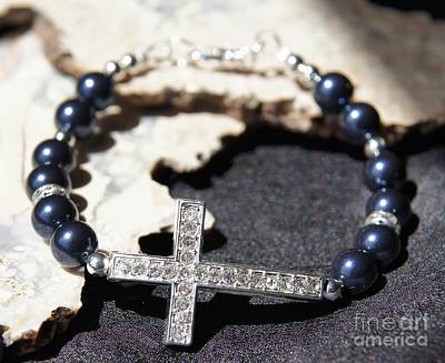 Jewelry - Blue Swarovski Pearl Cross Bracelet by Megan Cohen