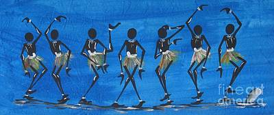 African Village Scene Painting - Blue by Sweet Candy