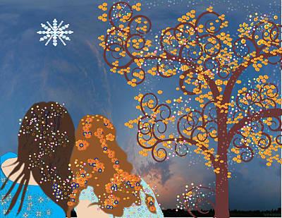Blue Swirl Girls Art Print by Kim Prowse