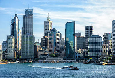 Blue Sydney - Circular Quay And Sydney Harbor With Skyscapers And Ferry Art Print by David Hill