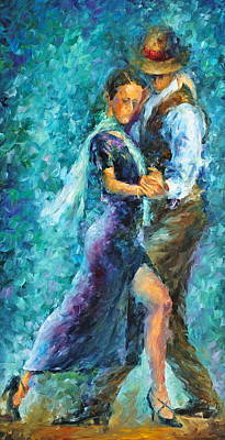 Tango Dancers Painting - Blue Tango 3 by Leonid Afremov