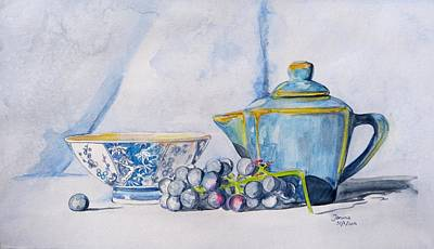 Art Print featuring the painting Blue Teapot  by Janina  Suuronen