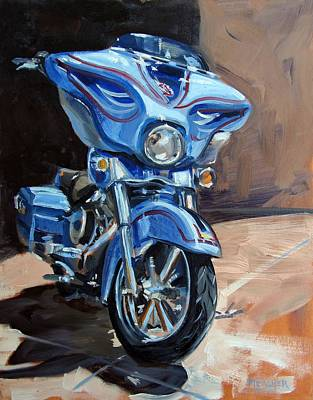 Harley Davidson Motorcycle Painting - Blue Thunder by Spencer Meagher